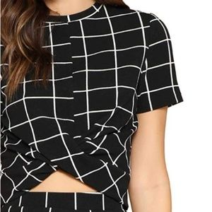 Cross Wrap Front Plaid Round Short Sleeve